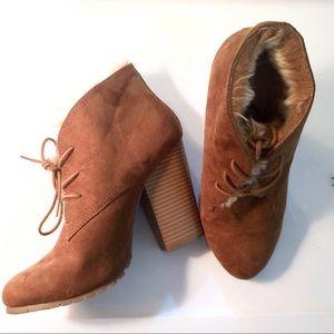 Leila Stone suede fur lined chunky heel booties
